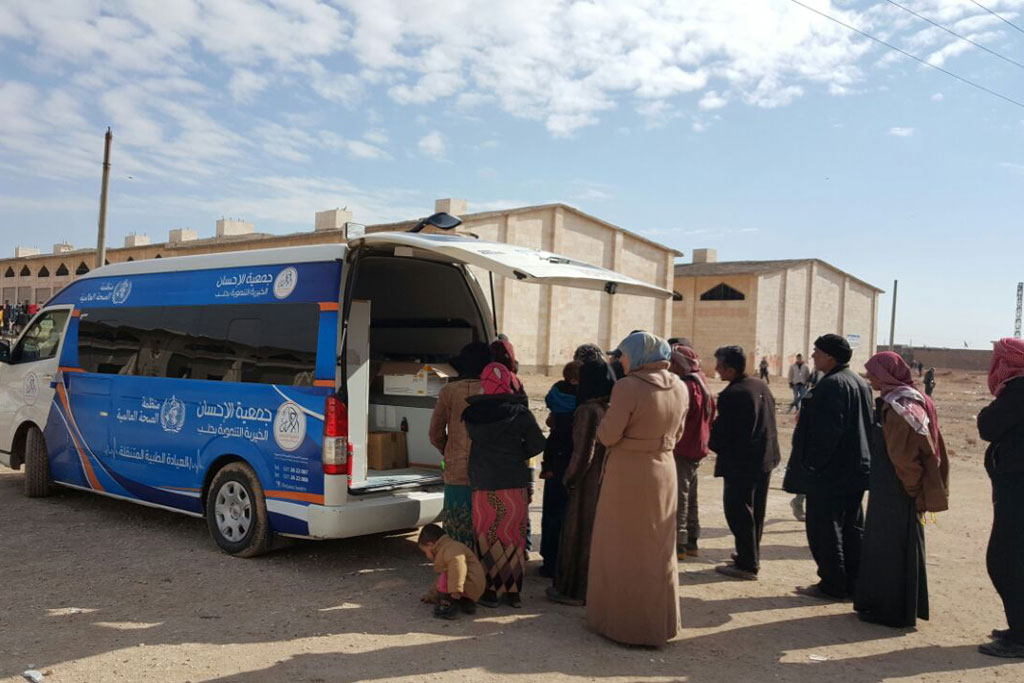 One of six mobile clinics provided by WHO to deliver health services to people fleeing violence in Aleppo, Syria. Photo: WHO Syria