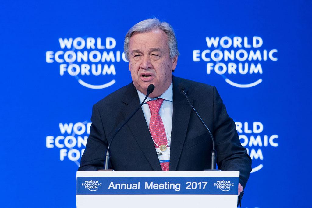 Secretary-General António Guterres addresses the World Economic Forum in Davos, Switzerland. 19 January 2017. Photo: World Economic Forum/Valeriano Di Domenico.