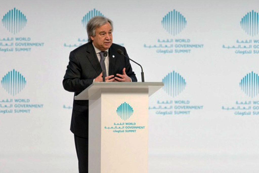 Secretary-General António Guterres addresses the World Government Summit in Dubai. Photo: World Government Summit