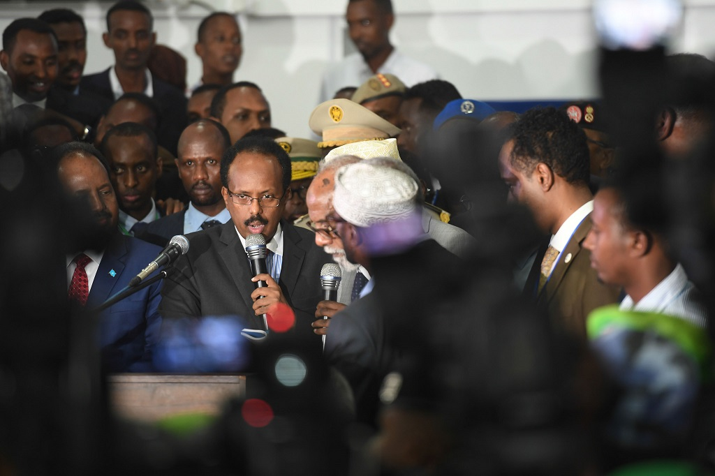 The new President of Somalia, Mohamed Abdullahi Farmajo, is sworn in after he was declared the winner of the election held at the Mogadishu Airport hangar. UN Photo/Ilyas Ahmed.