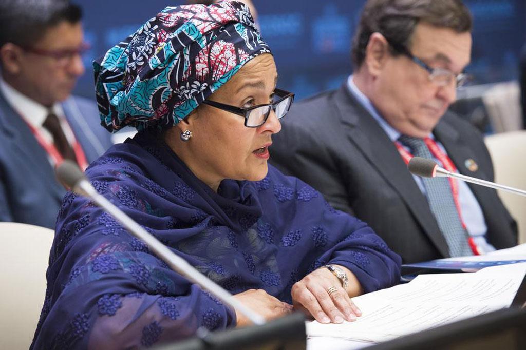 Deputy Secretary-General Amina J. Mohammed addresses the Operational Activities for Development Segment of ECOSOC. Cristián Barros, Vice-President of ECOSOC is at right. UN Photo/Eskinder Debeb