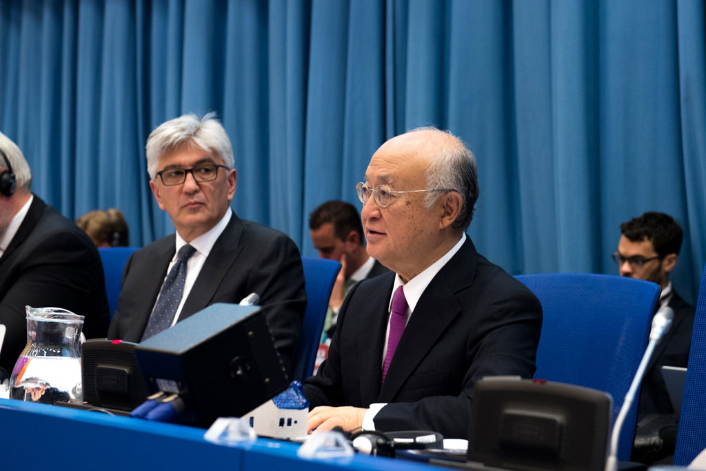 IAEA Director General Yukiya Amano (right) addresses the Preparatory Committee for the 2020 Review Conference of the Parties to the Treaty on the Non-Proliferation of Nuclear Weapons (NPT). Photo: UNIS Vienna