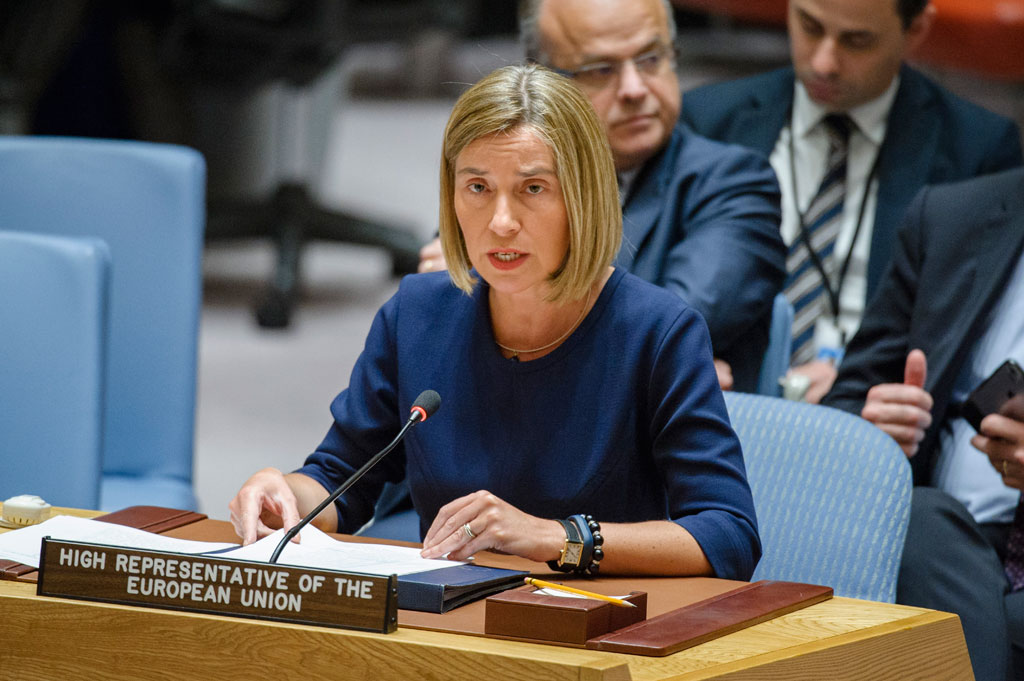 High Representative of the European Union Federica Mogherini addresses the Security Council meeting on cooperation between the UN and the European Union. UN Photo/Manuel Elias