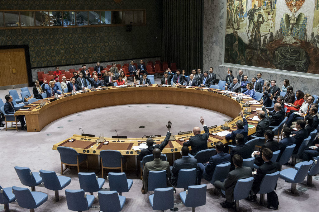 The UN Security Council unanimously adopts a resolution on non-proliferation of nuclear weapons and the intercontinental ballistic missile programme (ICBM) by the Democratic People's Republic of Korea (DPRK). UN Photo/Kim Haughton