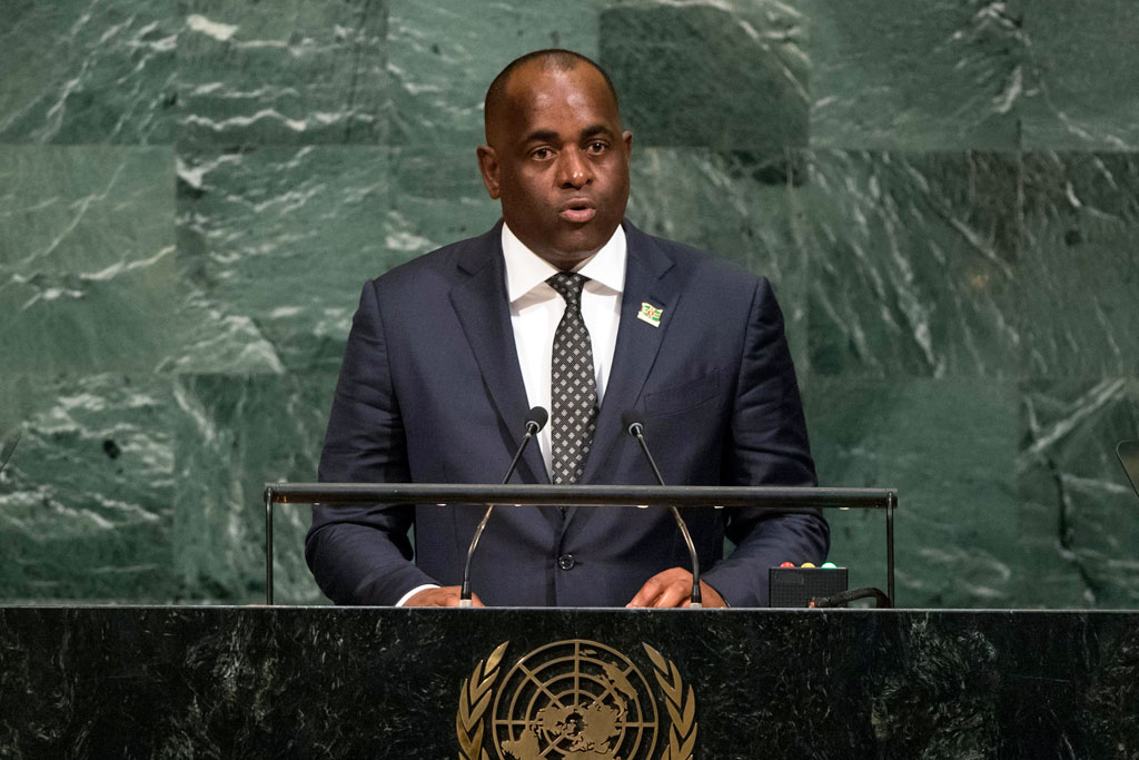 Prime Minister Roosevelt Skerrit of the Commonwealth of Dominica addresses the general debate of the General Assembly's seventy-second session. UN Photo/Cia Pak