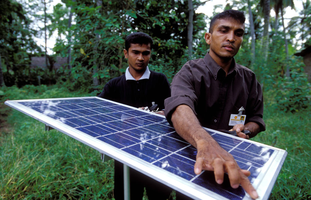 Solar panel used for lighting village homes in Sri Lanka. Photo: World Bank/Dominic Sansoni