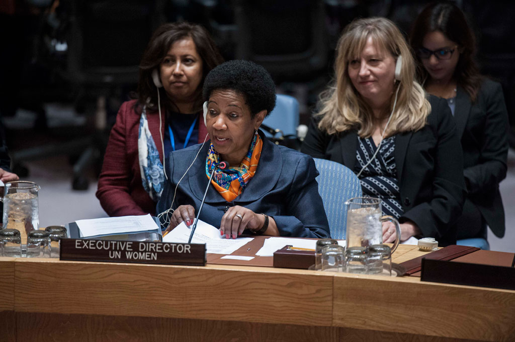Under-Secretary-General and Executive Director of UN Women, Phumzile Mlambo-Ngcuka, addresses the Secuirty Council during an open debate on Women, Peace and Security. UN Photo/Kim Haughton
