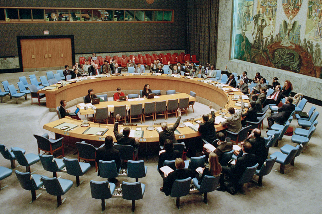 The Security Council in October 2000 voting to adopt resolution 1325 (2000), urging an enhanced role for women in preventing conflict, promoting peace and assisting in post-conflict reconstruction within United Nations operations. UN Photo/Milton Grant