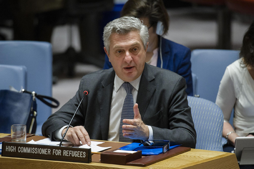 Briefing by the United Nations High Commissioner for Refugees Filippo Grandi. UN Photo/Manuel Elias