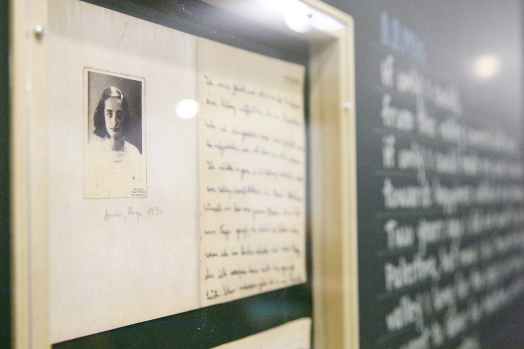 Close-up of a photograph of Anne Frank, part of the exhibit 'Monument of Good Deeds: Dreams and Hopes of Children During the Holocaust,' which was held in 2012 at UN Headquarters. UN Photo/JC McIlwaine