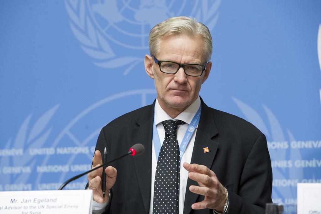 Jan Egeland, Special Advisor to the UN Special Envoy for Syria briefs the press during Intra-Syrian talks, Geneva. Photo: Violaine Martin